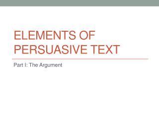 6 elements of an argumentative essay